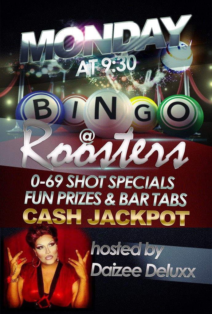 roosters Monday, bingo night flyer with Daizee Deluxx and cash jackpot