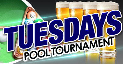 image block with text: Tuesdays pool tournament