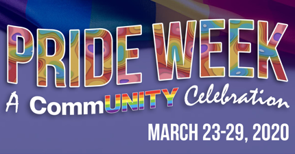 web banner image colorful pride week text with text and date