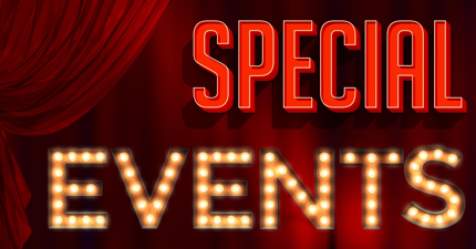 web banner image of red curtain background with special events text