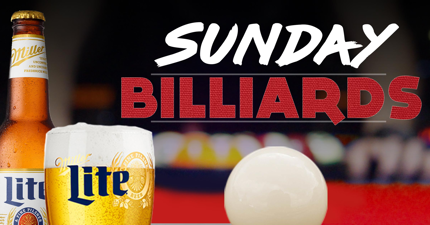 web banner image of sunday billiards text with pool table picturing beer and pool ball