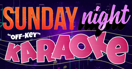 web banner image of purple musical background with sunday night karaoke text