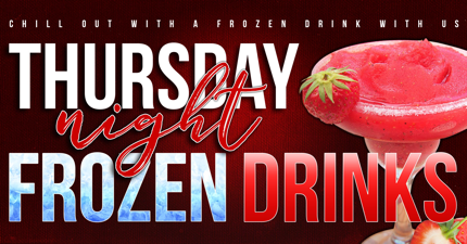 web banner image of red frozen margarita background with Thursday night frozen drinks text
