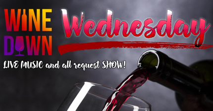 web banner image of gray background with wine and glass pouring on wine down wednesday night text