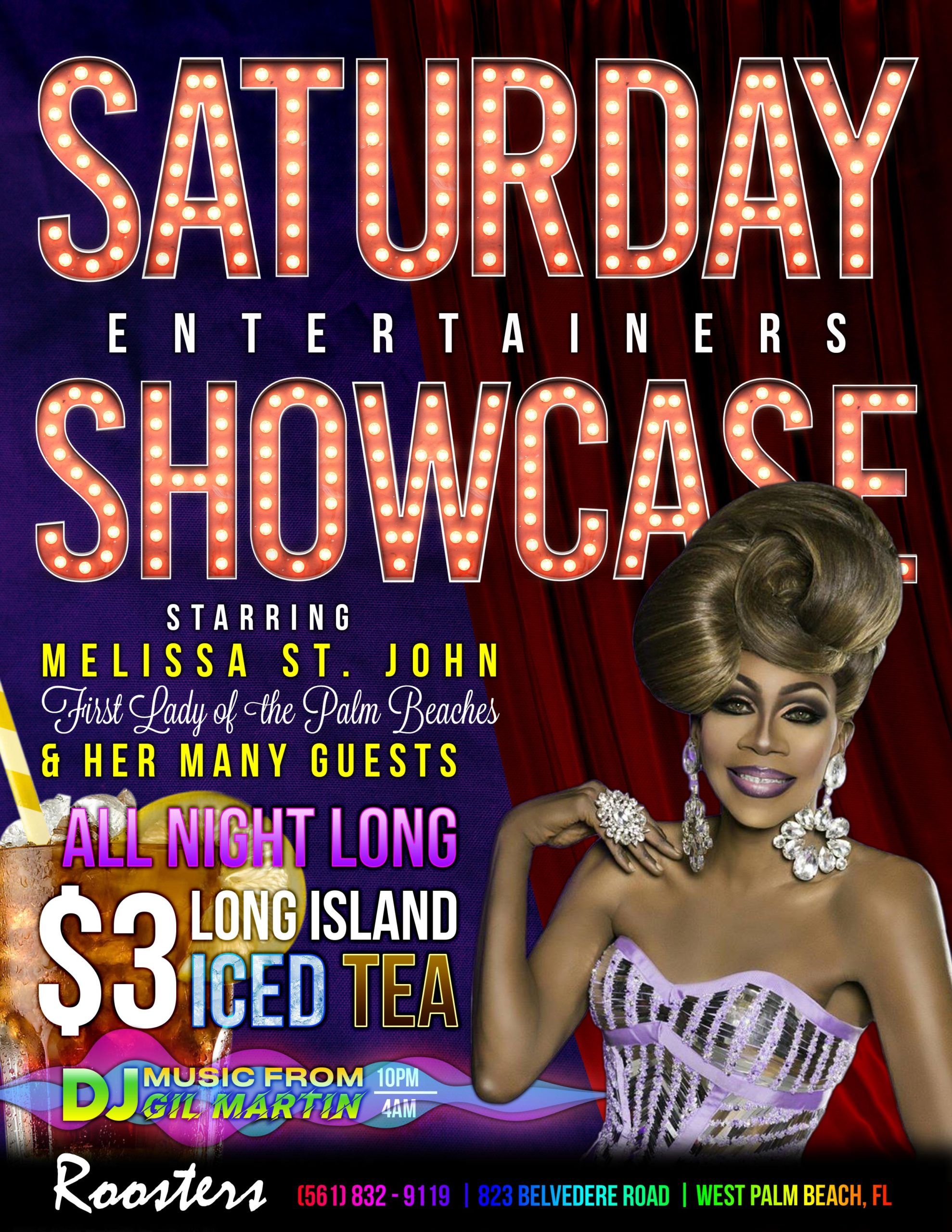 Melissa St. John Saturday Entertainers Showcase with $3 Long Island Iced Tea flyer